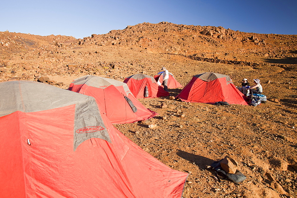 Setting up camp on a trek in the Jebel Sirwa region of the Anti Atlas mountains of Morocco, North Africa, Africa
