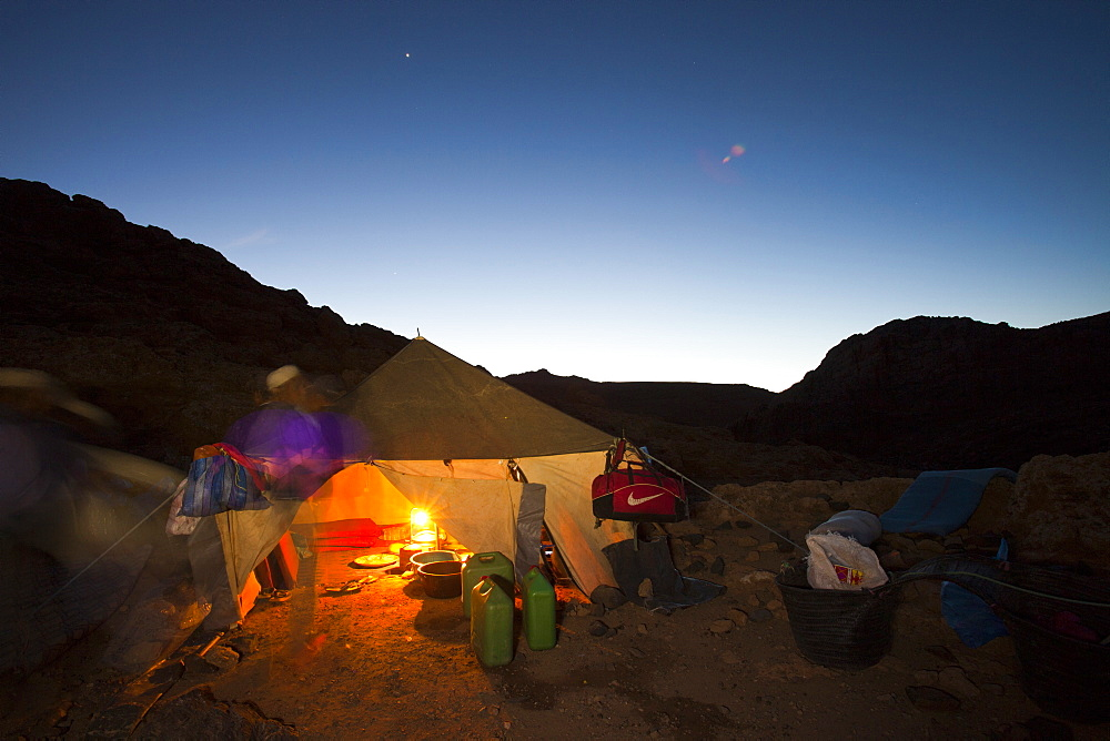 A night time camp on a trek in the Jebel Sirwa region of the Anti Atlas mountains of Morocco, North Africa, Africa