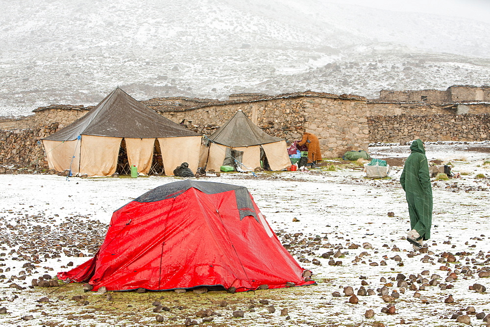 A trekkers camp in the snow,  Jebel Sirwa region of the Anti Atlas mountains of Morocco, North Africa, Africa