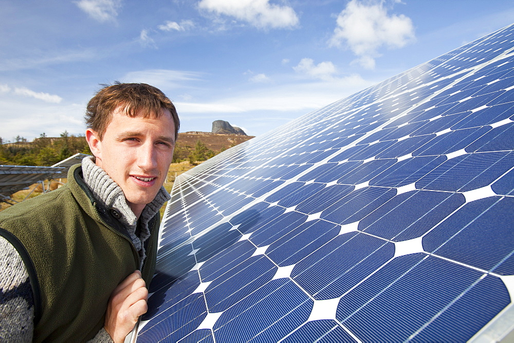 Solar panels on the Isle of Eigg off Scotland's west coast, Scotland, United Kingdom, Europe - 911-8272