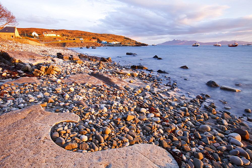 The Isle of Rhum at sunset from Elgol, Isle of Skye, Scotland, United Kingdom, Europe