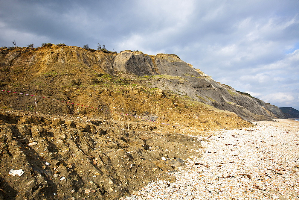 A landslip at Charmouth, Jurassic Coast, UNESCO World Heritage Site, Dorset, England, United Kingdom, Europe