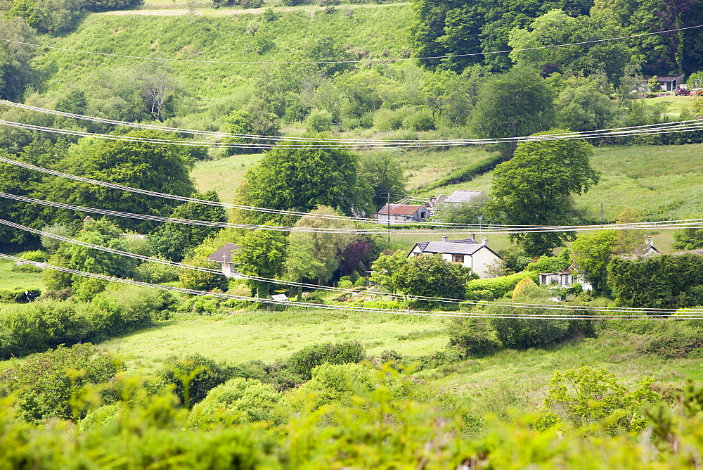 Fishpond Bottom, a beautiful village in the Dorset countryside with wonderful views to the coast, views that have been ruined by a high voltage power line crossing the valley, Fishpond Bottom, Dorset, England, United Kingdom, europe