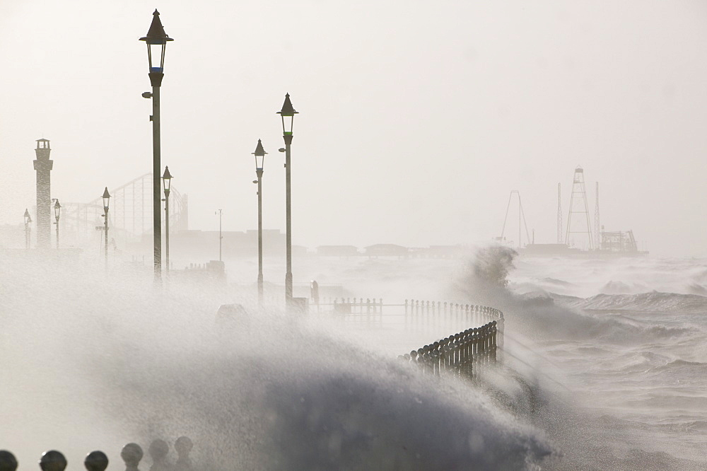 Blackpool being battered by storms, Blackpool, Lancashire, England, United Kingdom, Europe