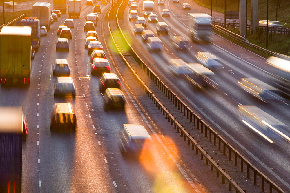 Rush hour traffic on the M60 motorway near Manchester, England, United Kingdom, Europe - 911-853
