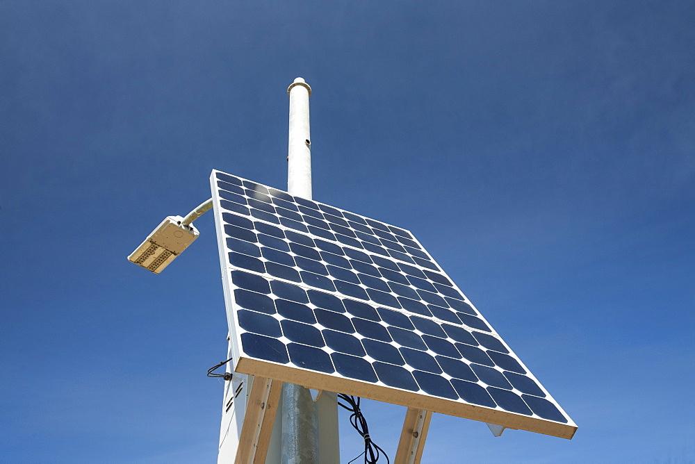 A solar lamp post in Fort McMurray, Alberta, Canada, North America