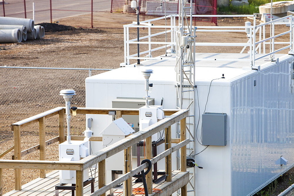 An air quality monitoring station measuring pollution from the tar sands industry, Fort McMurray, Alberta, Canada, North America