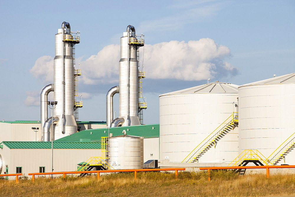 A SAGD (Steam Assisted Gravity Drainage) tar sands plant north of Fort McMurray, Alberta, Canada, North America
