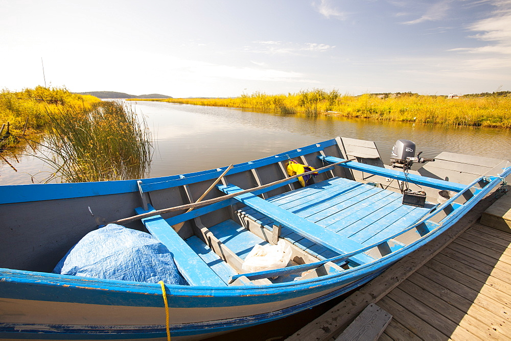 A fishing boat on Lake Athabasca in Fort Chipewyan, a First Nation community downstream of the tar sands industry, Alberta, Canada, North America