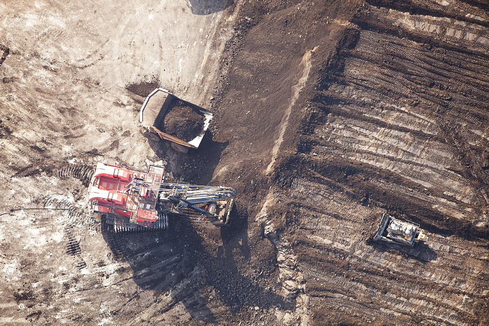 Tar sands deposits being mined north of Fort McMurray, Alberta, Canada, North America