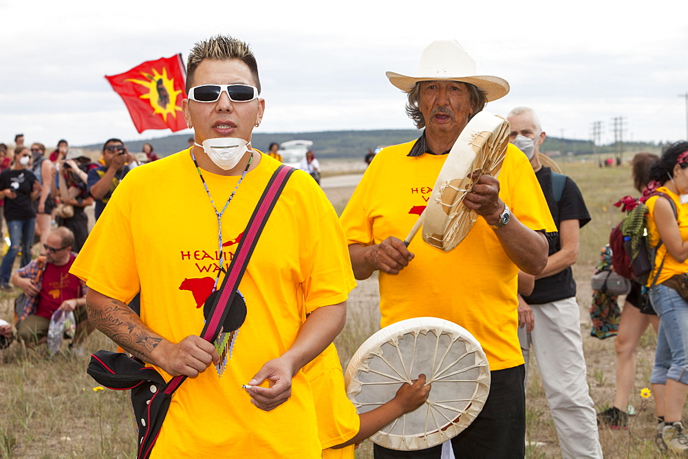 First Nation Canadians protest against the destruction and pollution of the Tar Sands industry at the 4th annual Healing Walk north of Fort McMurray, Alberta, Canada, North America