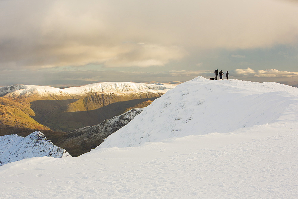 Striding Edge on Helvellyn looking towards the High Street Fells, Lake District National Park, Cumbria, England, United Kingdom, Europe