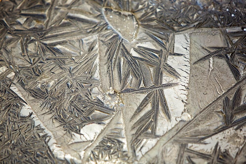 Frost patterns in soil on the Lancashire Fylde coast near Southport, Lancashire, England, United Kingdom, Europe
