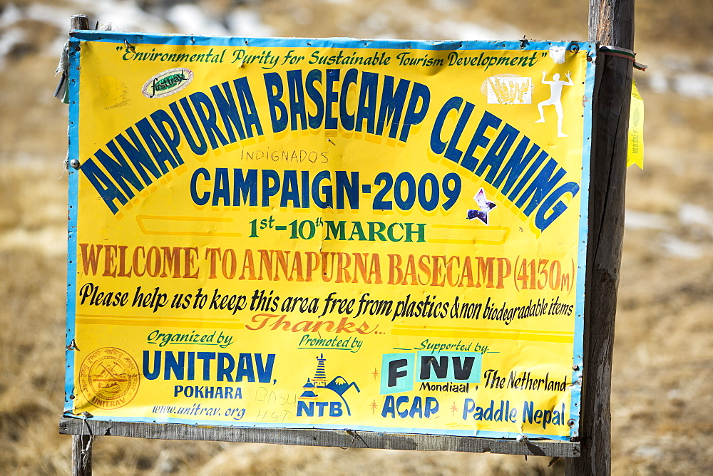 Sign about a cleanup campaign at Annapurna Base Camp at 4130 metres, Annapurna Sanctuary, Himalayas, Nepal, Asia