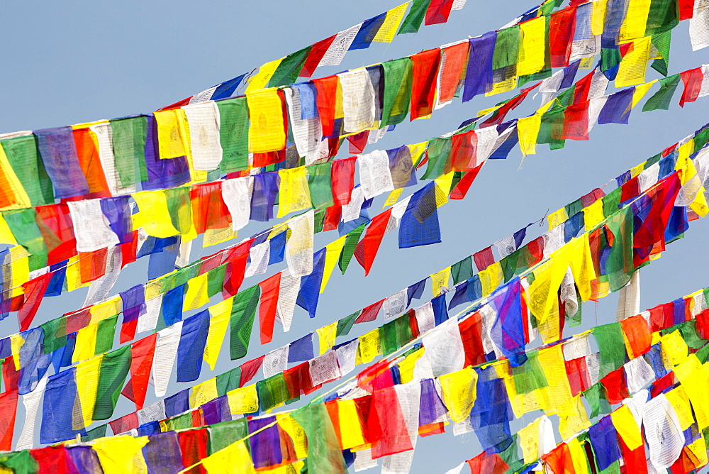 Prayer flags at the Boudhanath Stupa, one of the holiest Buddhist sites in Kathmandu, Nepal, Asia