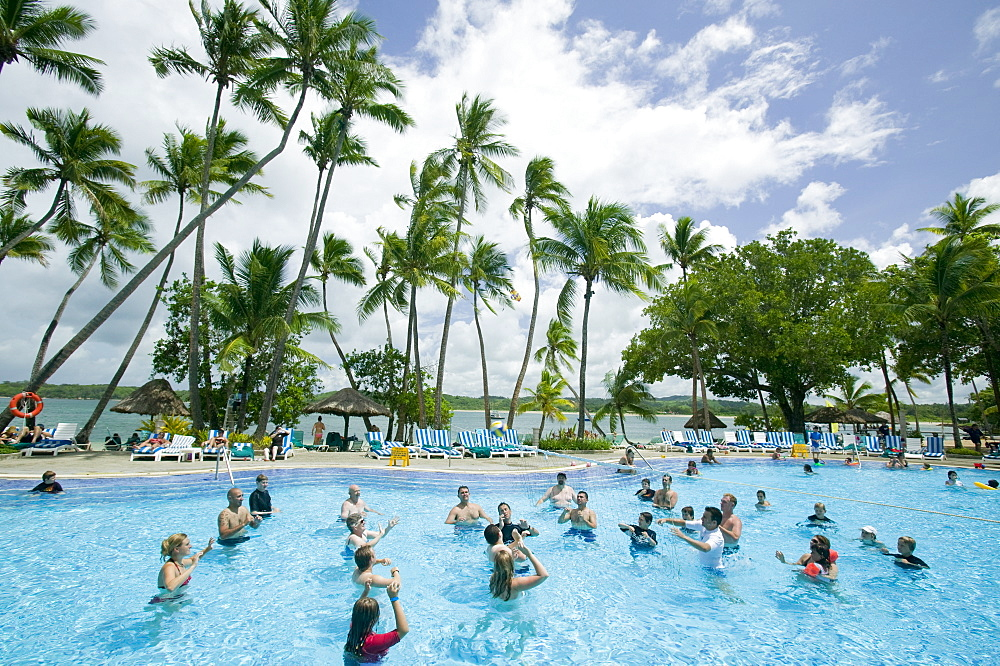A swimming pool in a holiday resort complex on Yanuka Island off Fiji, Pacific