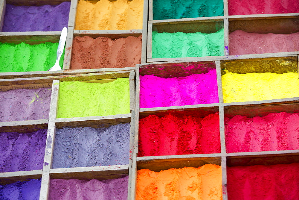 Colour dyes outside a shop in Kathmandu, Nepal, Asia