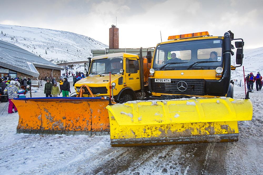 Snow ploughs at the Cairngorm Ski Centre near Aviemore, Scotland, United Kingdom, Europe