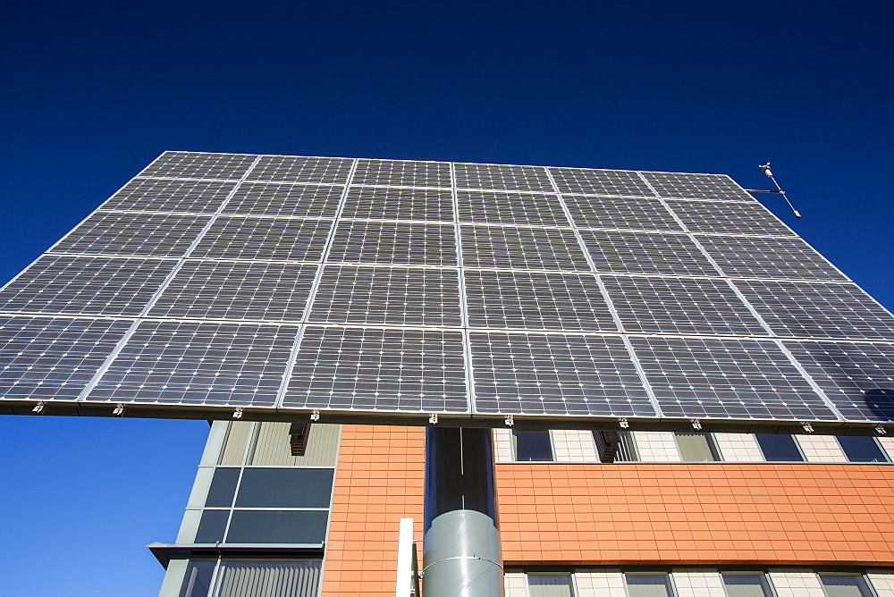 Tracking solar voltaic panels outside the University of Central Lancashire, Preston, Lancashire, England, United Kingdom, Europe