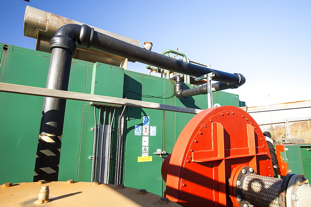 Methane biogas generator producing green electricity, from biogas extracted from an old landfill site on Walney Island, Cumbria, England, United Kingdom, Europe