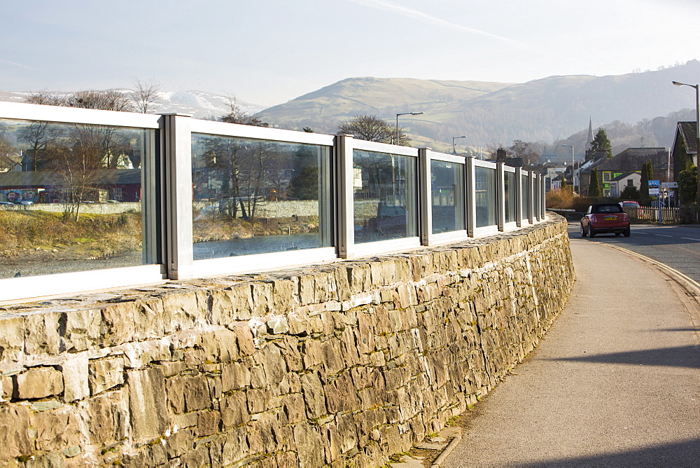 Flood defences in Keswick, Lake District, Cumbria, England, United Kingdom, Europe