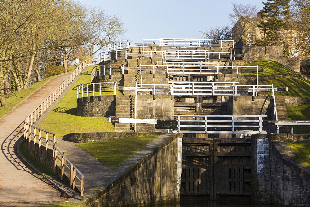 The Five Rise Locks on the Leeds Liverpool Canal in Bingley, Yorkshire, England, United Kingdom, Europe