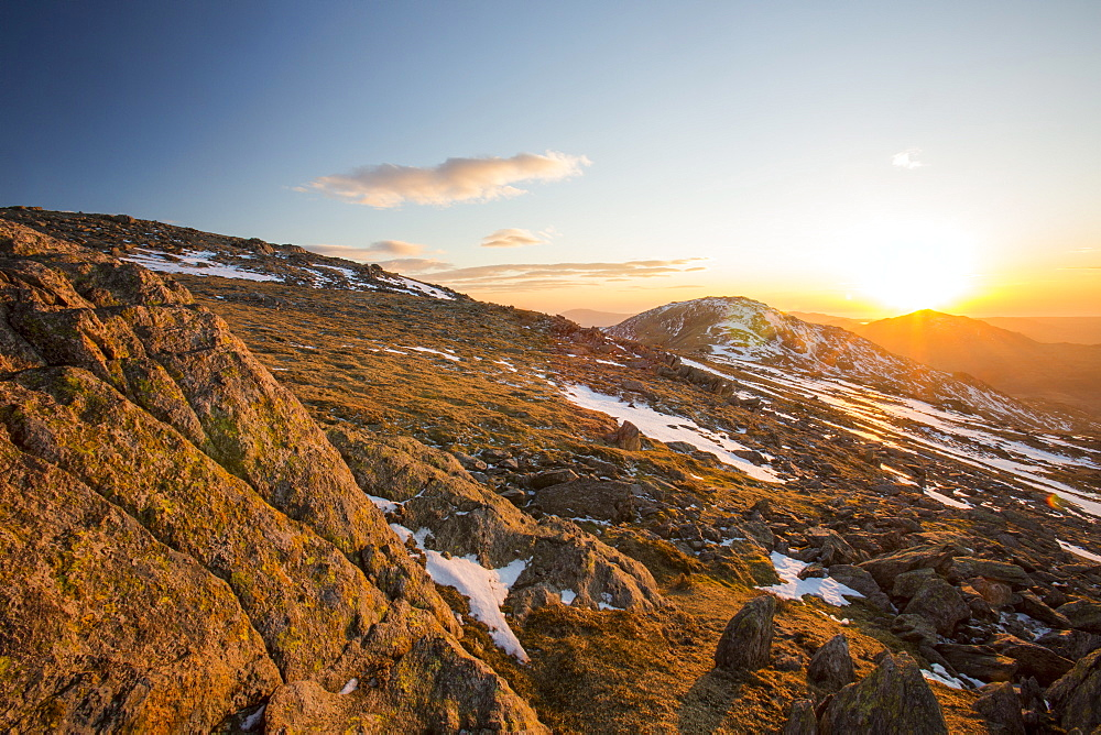 Sunset over Grey Friar and Harter Fell from Great Carrs in the Lake District, Cumbria, England, United Kingdom, Europe
