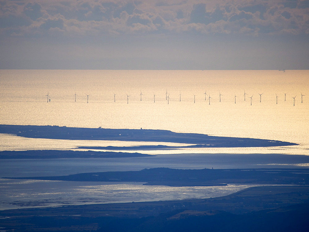 Looking down on an offshore wind farm just off Walney Island near Barrow in Furness, from the summit of Scafell Pike, the highest point in England, Lake District, Cumbria, England, United Kingdom, Europe