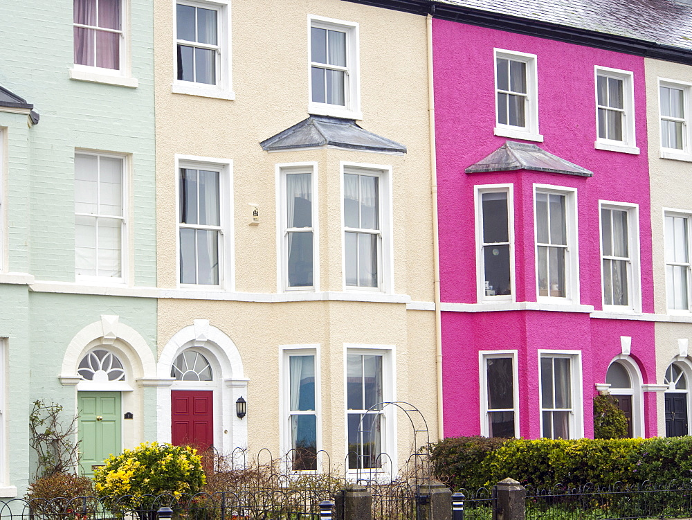 A row of terraced houses in Beaumaris, Anglesey, Wales, United Kingdom, Europe