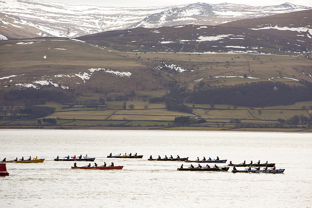The Annual Castle to Castle boat race which goes from Beaumaris Castle to Caernafon Castle, along the Menai Straits, Anglesey, Wales, United Kingdom, Europe