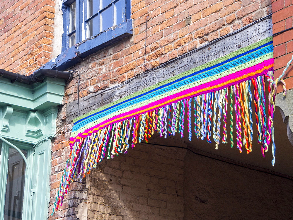 Yarn bombing (gorilla knitting) in Bishops Castle, Shropshire, England, United Kingdom, Europe