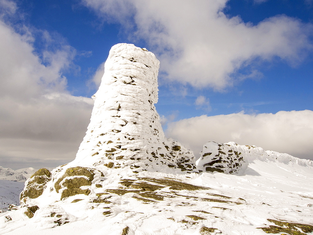 Thornthwaite Beacon plastered in hoar frost in unseasonally cold weather in late March 2013, Lake District, Cumbria, England, United Kingdom, Europe
