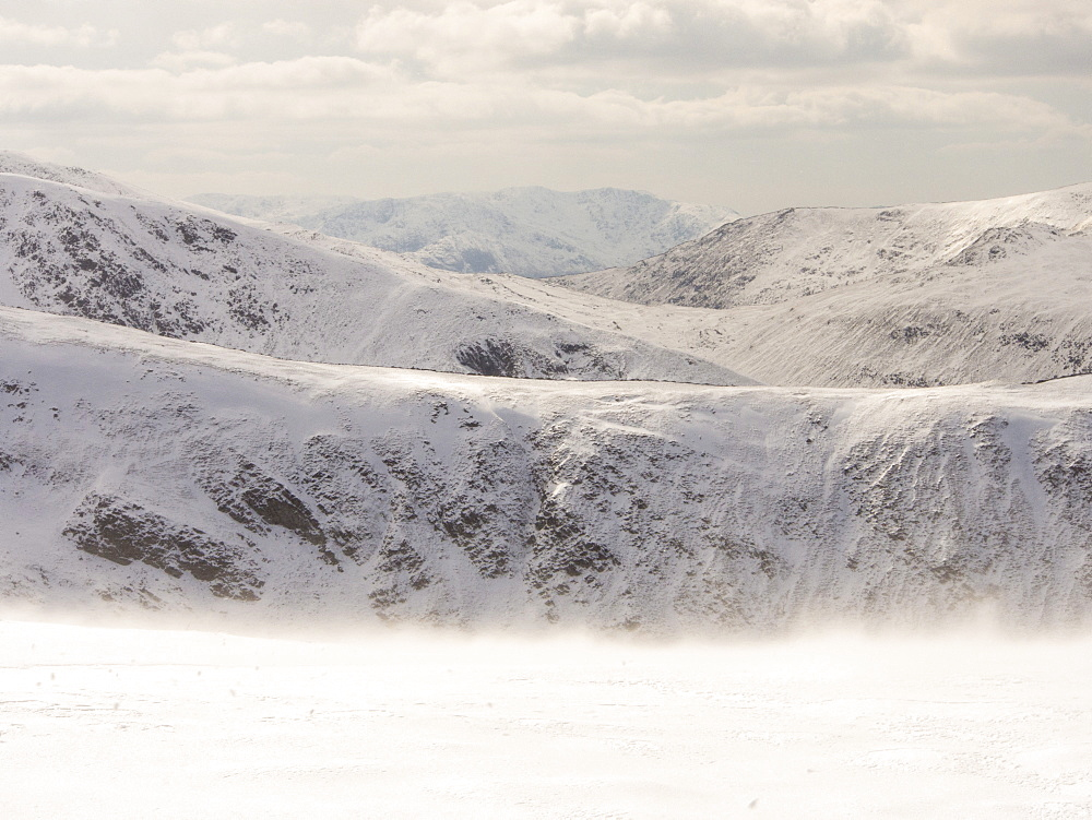 Looking towards Helvellyn fom Gray Crag during unseasonally cold weather in late March 2013, Lake District National Park, Cumbria, England, United Kingdom, Europe