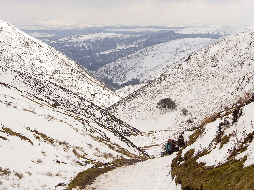 The Carding Mill Valley in Church Stretton, during unseasonal cold weather in late March, Shropshire, England, United Kingdom, Europe