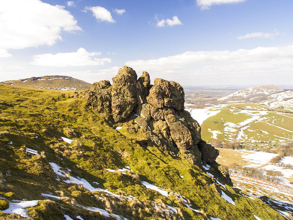 Rocky outcrops on Hope Bowdler Hill above Church Stretton in Shropshire, England, United Kingdom, Europe