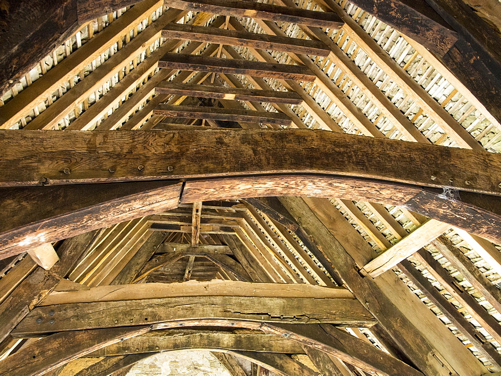 Ancient roof timbers in Stokesay Castle which is a fortified manor house built in the late 13th century, Stokesay, near Craven Arms, Shropshire, England, United Kingdom, Europe