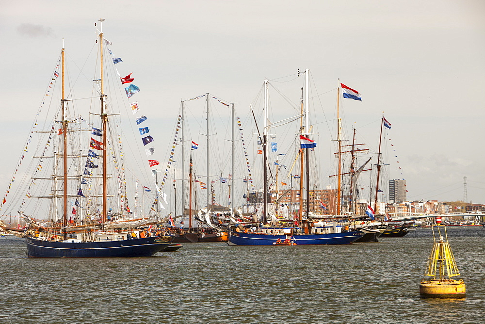 Old sailing ships on Ij Meer in Amsterdam, Netherlands, Europe