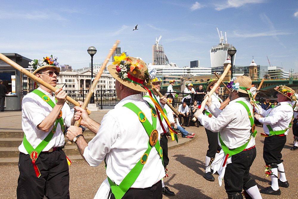The Woodside Morris Men performing on London's South Bank, London, England, United Kingdom, Europe