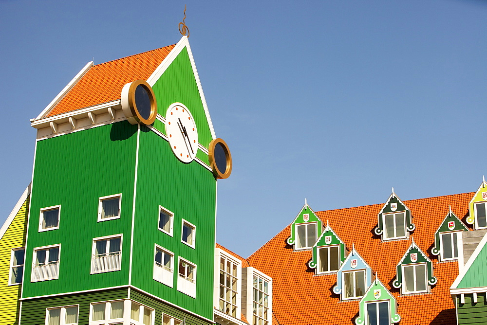 The ultra trendy, modern train station in Zaanstadt, designed to look like the traditional house style of the area, Netherlands, Europe