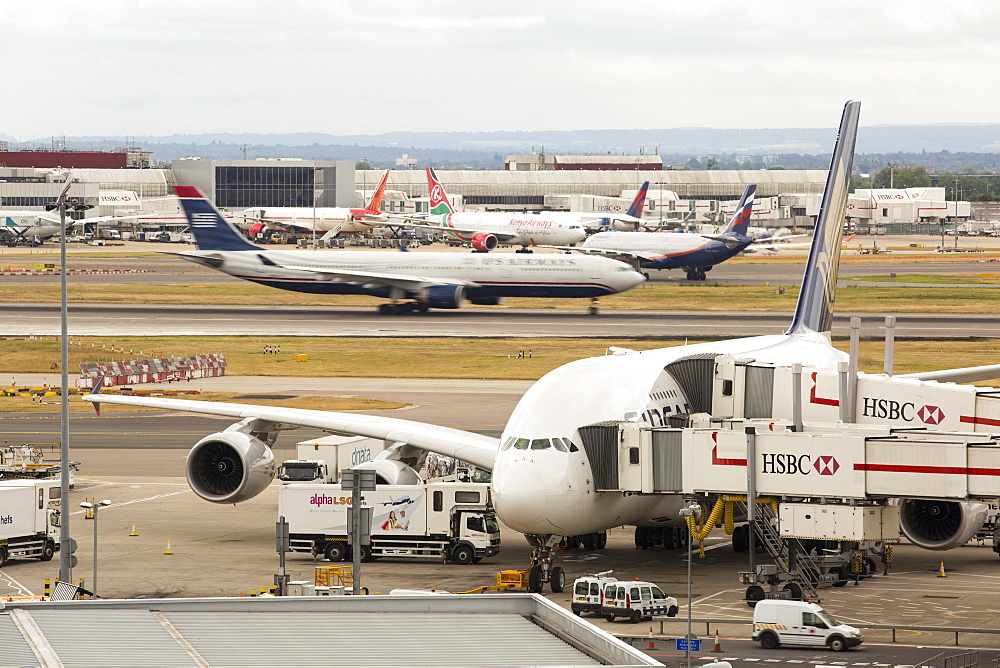 Planes at Heathrow Airport, London, UK.