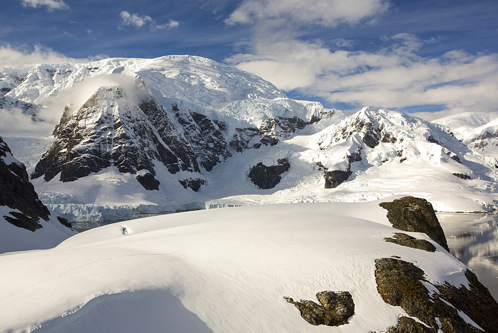 Mount Walker in Paradise Bay off Graham Land on the Antarctic Peninsular. the Peninsular is one of the most rapidly warming places on the planet.