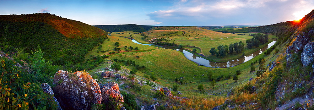 Quiet place. Nature, Moldova, landscape, summer, Green,  Stones, hill, hills, Grass, trees, tree, forest, water, River