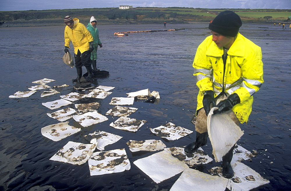 Oil clean up, West Angle Bay, Sea Empress oil spill      (rr)