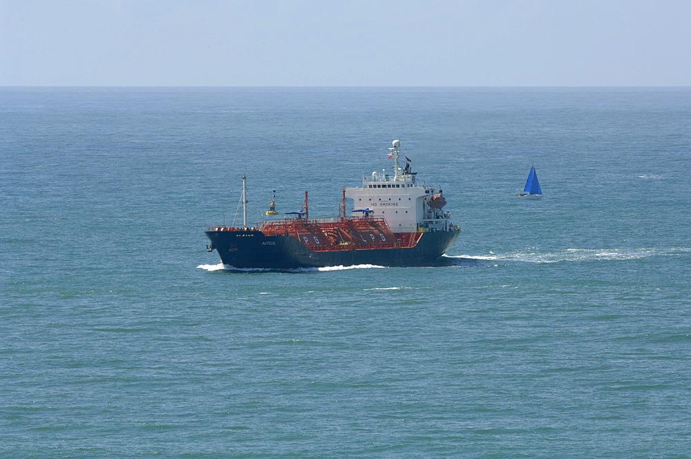 Oil tanker entering Milford Haven, Wales, UK