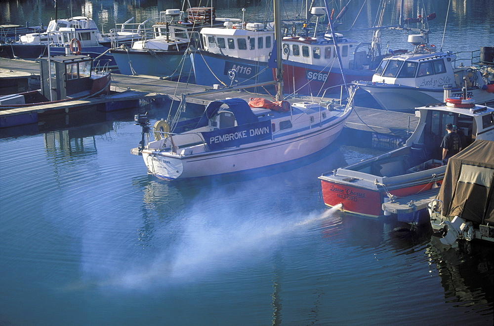 Exhaust funes from boat, Marina, Milford Docks, Milford Haven, Pembrokeshire