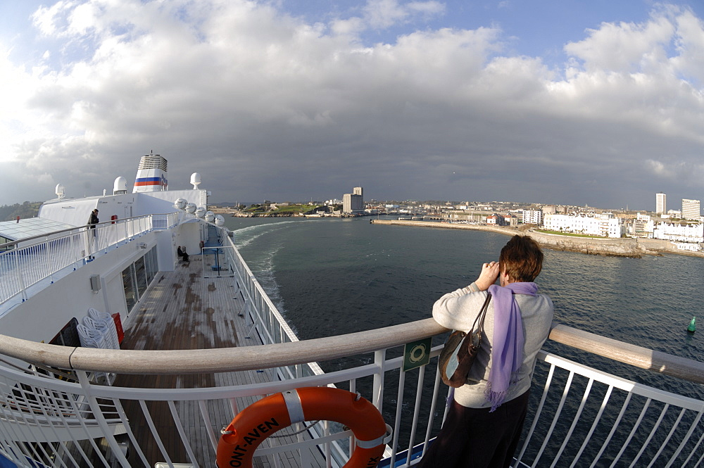 Deck of Pont Aven ferry, Brittany Ferries, Plymouth to Roscoff crossing, Atlantic Ocean