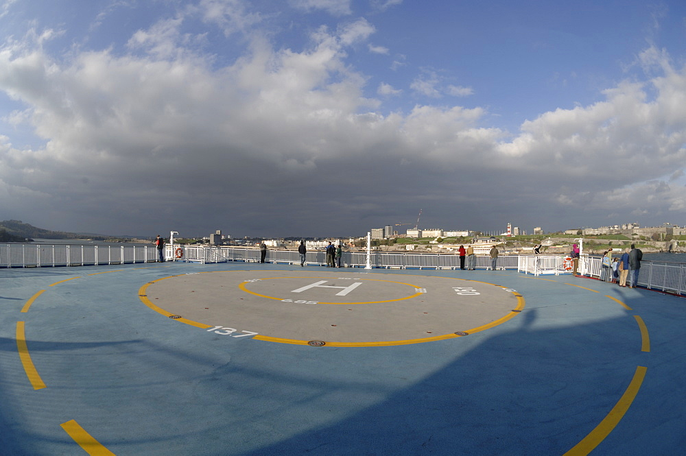 Helipad on deck of Pont Aven ferry, Brittany Ferries, Plymouth to Roscoff crossing, Atlantic Ocean