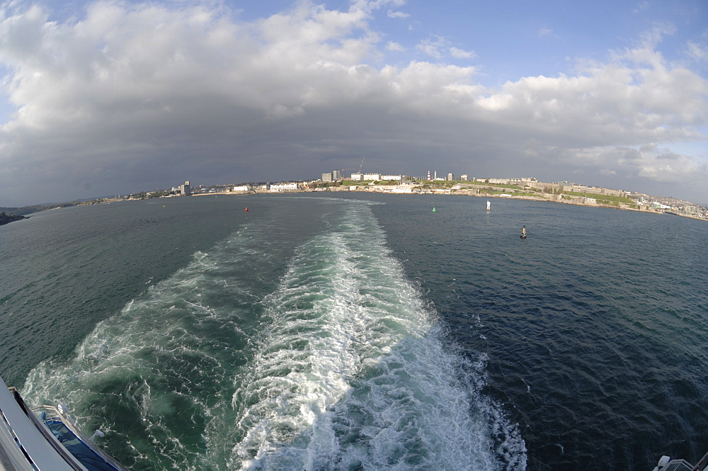 View of Plymouth from the deck of the Pont Aven ferry, Brittany Ferries, Plymouth to Roscoff crossing, Atlantic Ocean