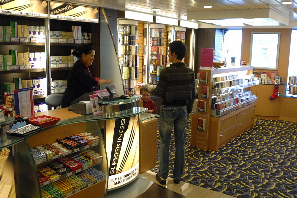 Shop, Pont Aven ferry, Brittany Ferries, Plymouth to Roscoff crossing, Atlantic Ocean        (rr)