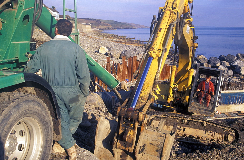 Coastal engineering works, sea outfall construction, Amroth, South Pembrokeshire